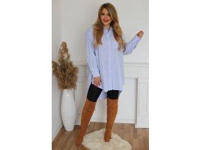 Modro-biela oversize prdĺžená košeľa