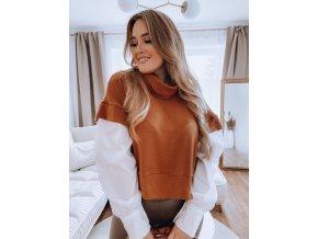 Vrstvený sveter s košeľovými rukávmi - hnedá