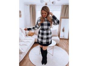 Predĺžený károvaný sveter v čierno-bielej