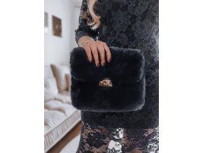 Čierna kabelka z umelej kožušiny