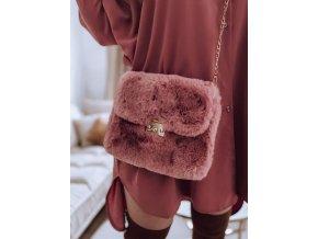 Ružová kabelka z umelej kožušiny