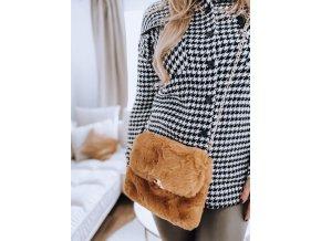 Hnedá kabelka z umelej kožušiny
