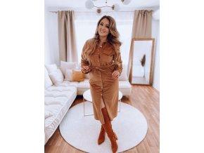 Hnedé menčestrové šaty s opaskom
