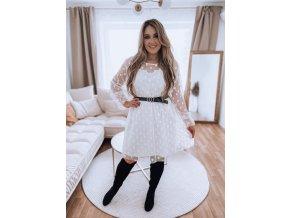 Biele bodkované šaty s opaskom