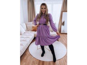 Fialové prešívané šaty