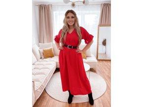 Dlhé šaty s krátkym rukávom a výstrihom do V - červená