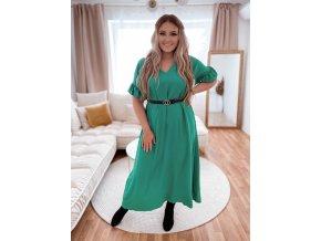 Dlhé šaty s krátkym rukávom a výstrihom do V - zelená
