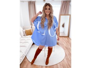 Oversize košeľa LOVE - modrá