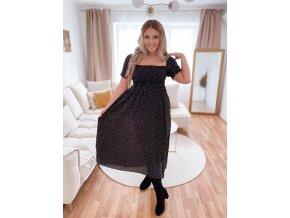 Romantické bodkované šaty v čiernej