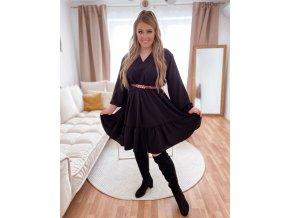 Voľné čierne šaty s výstrihom do V