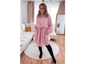 Svetlo ružové voľné šaty so sťahovaním v páse