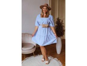 Dámske voľné šaty s krátkym rukávom - svetlo modrá