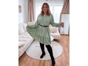 Voľné šaty s výstrihom do V a zlatým vzorom - zelená
