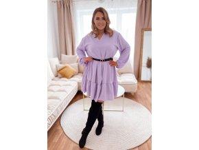 Voľné šaty s výstrihom do V - fialová