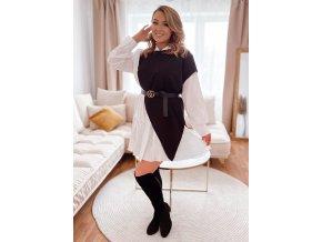Čierno-biele košeľové šaty s opaskom