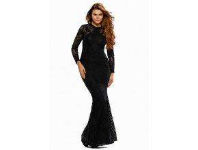 Dlhé čierne spoločenské šaty s holým chrbtom