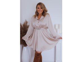 Béžové šaty s opaskom