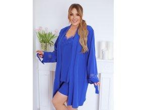 Trojdielný pyžamový set v modrej