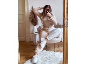 Béžovo-biele bavlnené tepláky