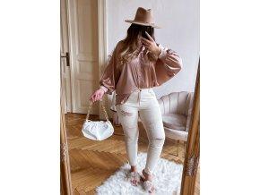 Krémové roztrhané džínsy