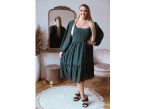 Voľné zelené šaty v midi dĺžke s dlhým rukávom