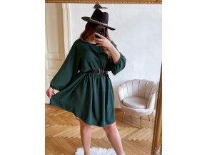Krátke šaty nad kolená s dlhým rukávom v amazonskej zelenej