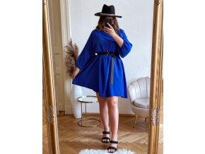 Krátke šaty nad kolená s dlhým rukávom v parížskej modrej