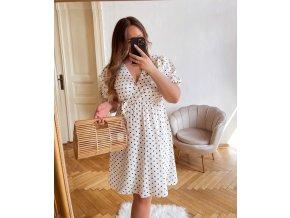 Biele bodkované šaty s krátkym rukávom