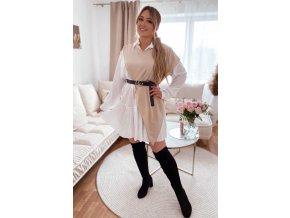 Béžovo-biele košeľové šaty s opaskom