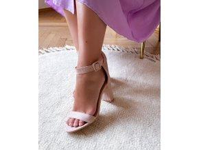 Sandále na hrubom podpätku v telovej farbe