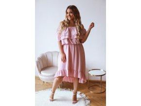 Asymetrické šaty s odhalenými ramenami a volánom - ružová