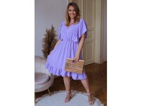 Šaty pod kolená s krátkym rukávom a riasením - fialová