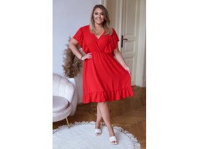 Šaty pod kolená s krátkym rukávom a riasením - červená