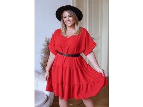 Voľné červené šaty s krátkym rukávom