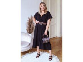 Čierne šaty v midi dĺžke s krátkym rukávom