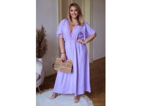Dlhé šaty s hlbokým výstrihom vo fialovej