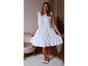 Voľné prešívané šaty v bielej