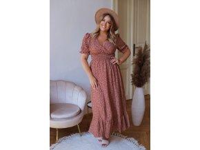 Dlhé vzorované šaty s krátkym rukávom - tehlová