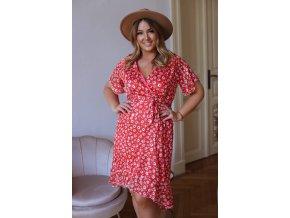 Asymetrické kvetinové šaty v červenej