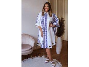 Bavlnená maxi biela košeľa s modrým vzorom