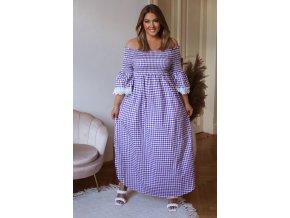 Bavlnené kárované bielo-fialové šaty