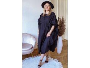 Bavlnené čierne maxi šaty