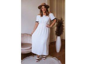 Dlhé šaty s farebnými strapcami - biela