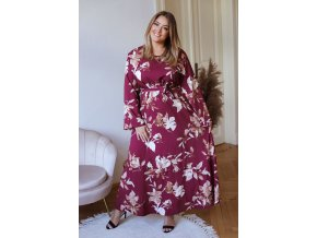 Dlhé šaty s dlhým rukávom a opaskom - bordová