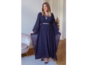 Dlhé šaty s trblietavým výstrihom a opaskom - tmavo modrá