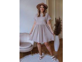 Bavlnené krátke šaty s krátkym rukávom - béžová