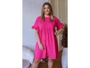 Voľné bavlnené šaty s krátkym rukávom - ružová