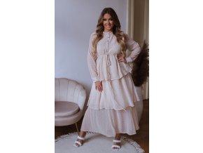 Bodkované dlhé šaty s volánovou sukňou - krémová