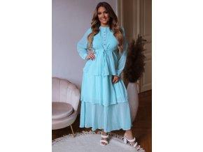 Bodkované dlhé šaty s volánovou sukňou - tyrkysová