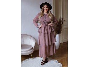 Bodkované dlhé šaty s volánovou sukňou - hnedá